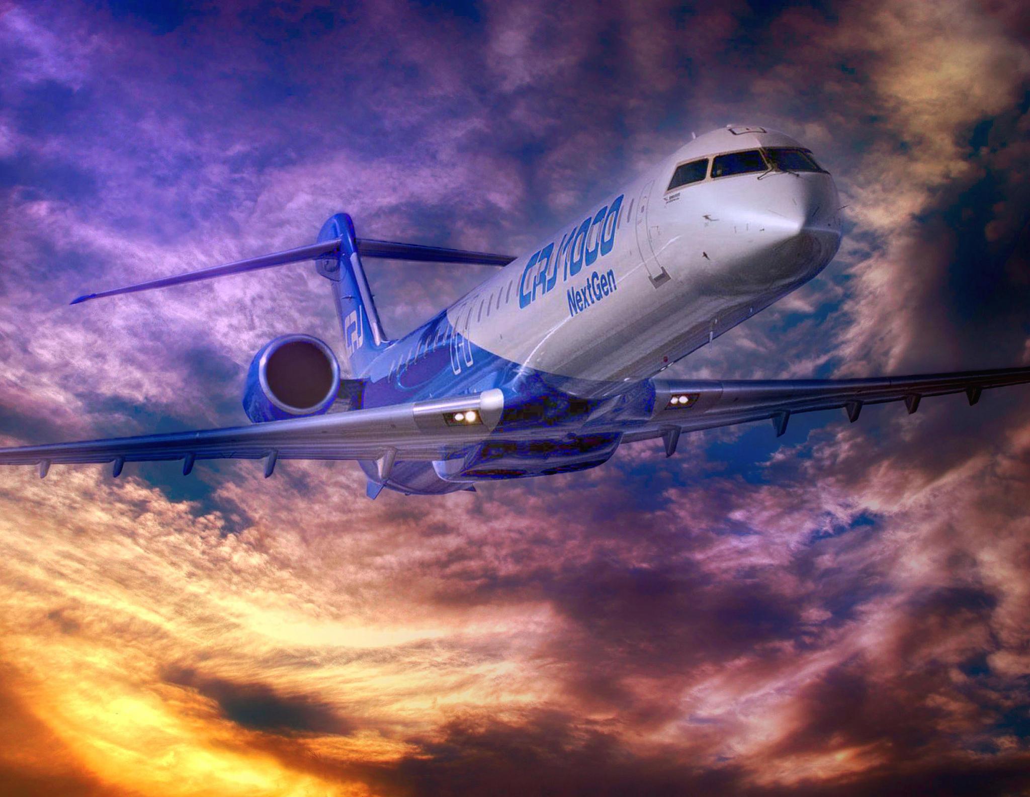 Обои Bombardier CRJ-1000, пассажирский самолет, небо, закат