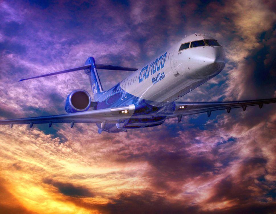 Фото бесплатно Bombardier CRJ-1000, пассажирский самолет, небо - на рабочий стол