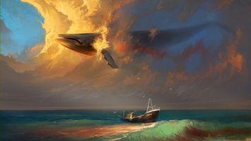 Бесплатные фото летающий кит,рисунок,лодка,небо,океан