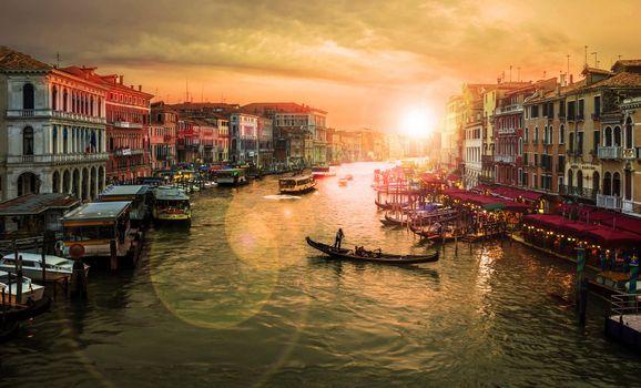 Фото бесплатно Venice, Венеция, Италия, закат, канал