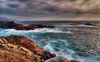 Бесплатные фото берег, камни, море, волны, горизонт, небо, тучи