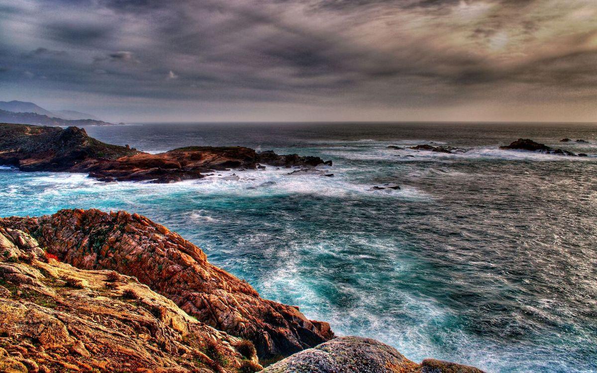 Фото бесплатно берег, камни, море, волны, горизонт, небо, тучи, пейзажи