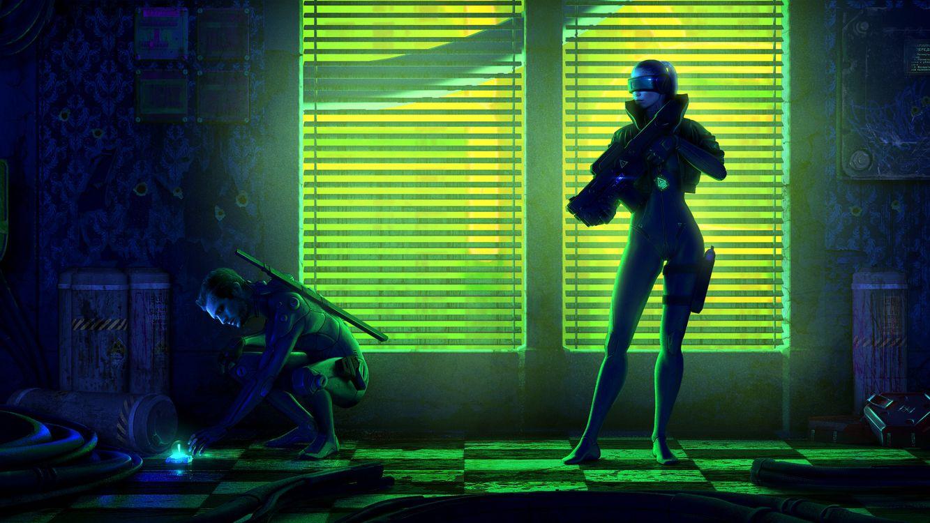 Фото бесплатно комната, девушка и мужчина, зеленый свет, оружие, фантастика