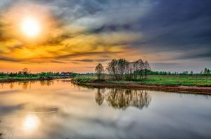Бесплатные фото закат,река,поле,деревья,пейзаж