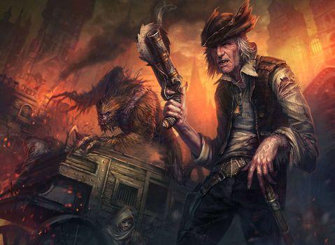 Фото бесплатно пират, монстр, фантастика