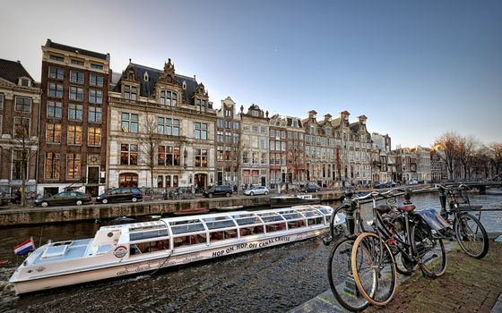 Photo free embankment, bicycles, river