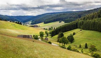 Обои поля, холмы, деревья, дома, Германия, пейзаж