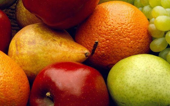 Фото бесплатно фрукты, груши, яблоки, апельсины, виноград, витамины