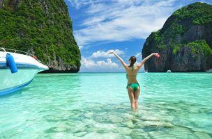 Photo free beach, landscape, girl