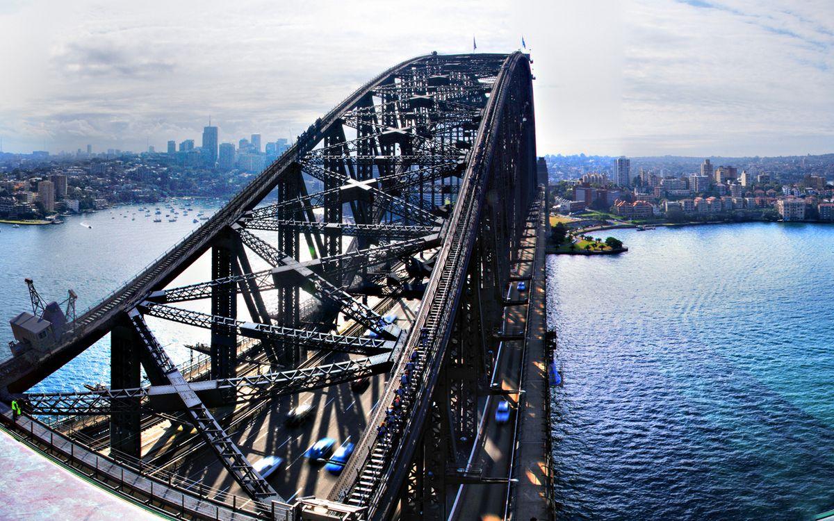 Фото бесплатно река, мост, конструкция, машины, берег, дома, здания, улицы, город