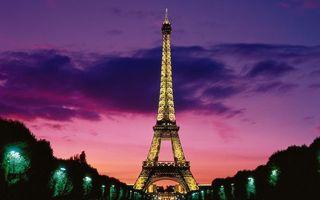 Заставки вечер, Париж, эйфелева башня, подсветка, парк, Марсово поле