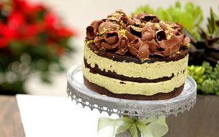 Фото бесплатно сладость, торт, слои, шоколад, присыпка, поднос