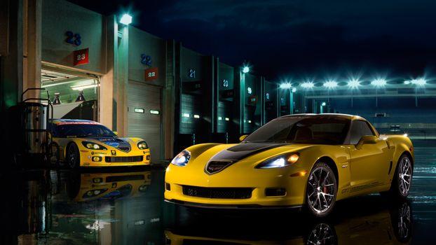 Photo free corvette, yellow, lights