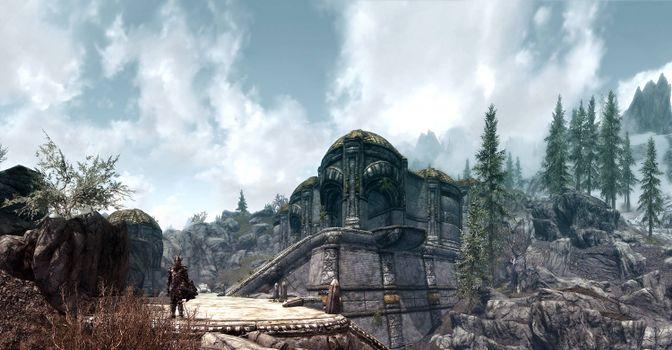 Фото бесплатно Skyrim, game, персонаж, обрыв, постройка