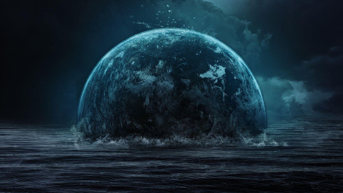 Фото бесплатно море, волны, брызги, планета, небо, тучи, фантастика