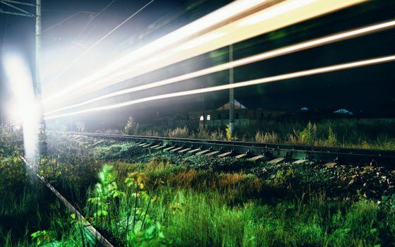 Заставки ночь, железная дорога, рельсы