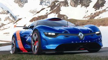 Бесплатные фото рено альпина,синяя,спорткар,спойлер,диски,фары,горы