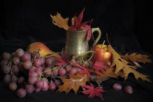Photo free grapes, apple, leaves