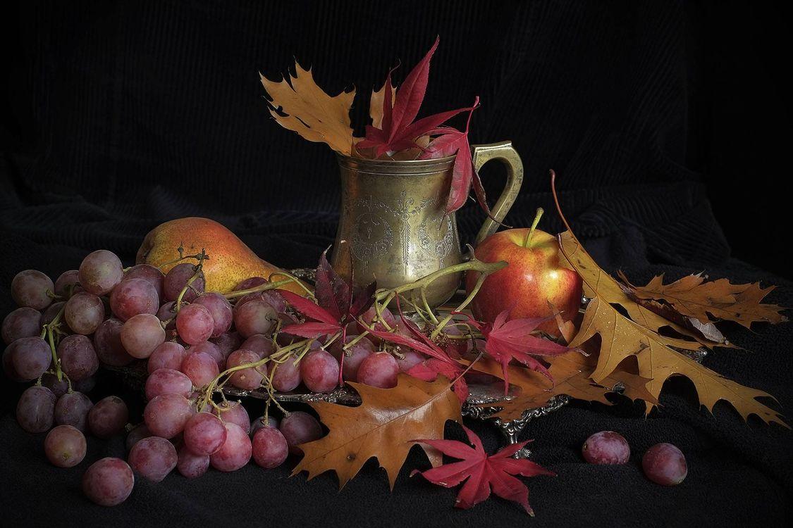 Фото бесплатно виноград, яблоко, листья - на рабочий стол