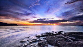 Бесплатные фото море,вечер,закат,небо,скала,валуны,камни