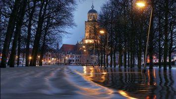 Фото бесплатно вечер, город, наводнение