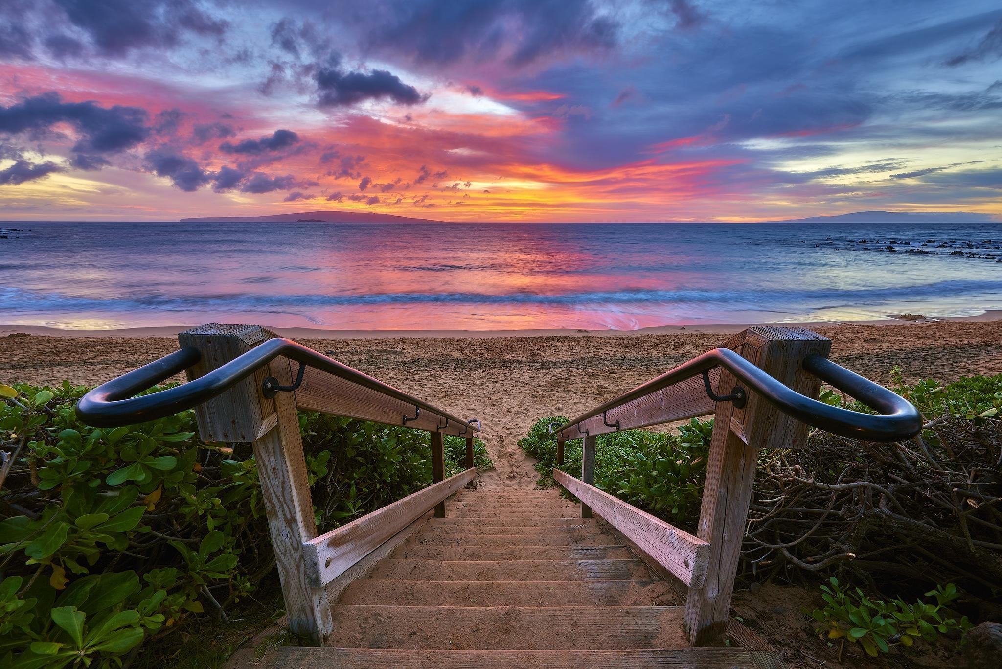 обои закат, море, выход к морю, ступени картинки фото