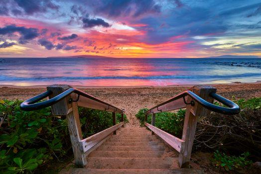 Фото бесплатно закат, море, выход к морю
