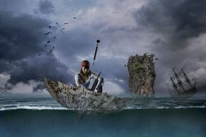 Обои девушка, пират, зонтик, зонт, море, парусник, фрегат, скала, ситуация