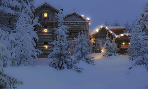 Фото бесплатно дом в лесу, зима, сугробы