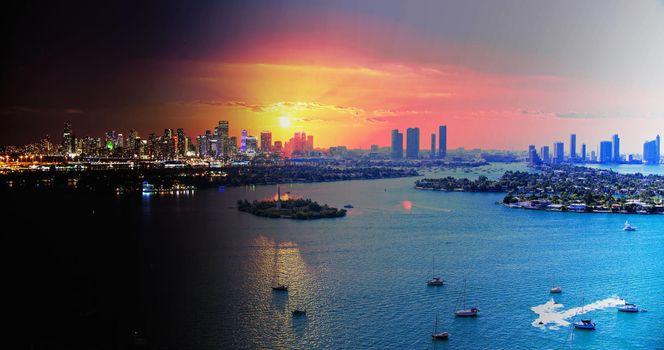 Заставки город, восход солнца, лодки