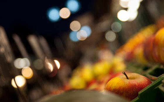 Фото бесплатно прилавок с яблоками, яблоко, макро