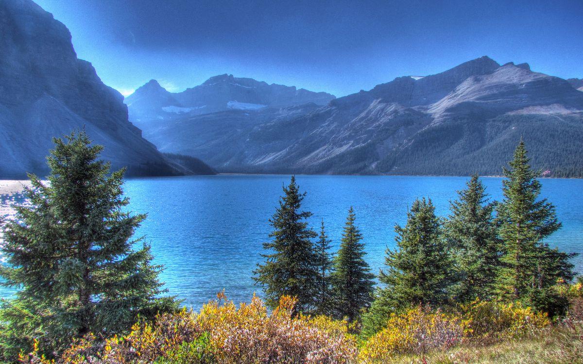 Фото бесплатно трава, кустарник, деревья, озеро, горы, небо, пейзажи