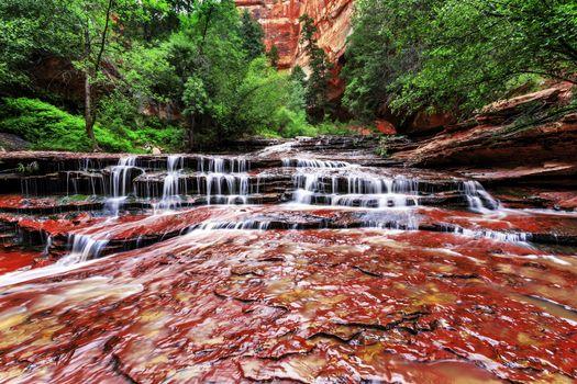 Archangel Cascades, Zion National Park, водопад, скалы, деревья