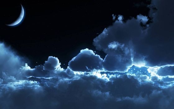 Фото бесплатно ночь, небо, облака, планета, луна, свет