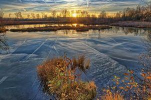 Фото бесплатно закат, озеро, осень