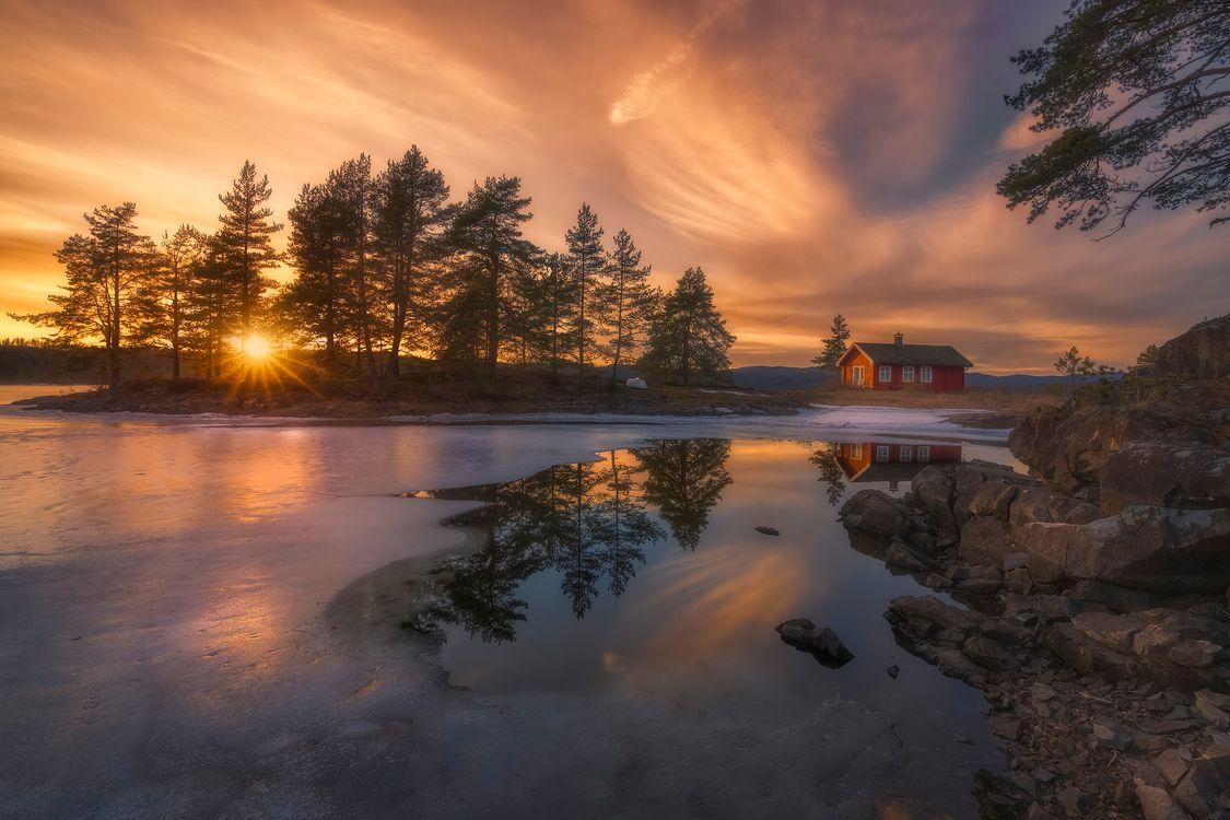 Фото бесплатно дом, озеро, Норвегия - на рабочий стол