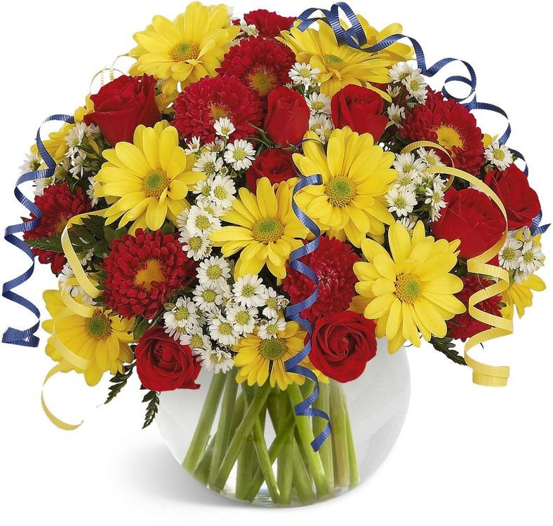 Фото бесплатно Хризантемы и розы в одном букете, хризантемы, розы - на рабочий стол