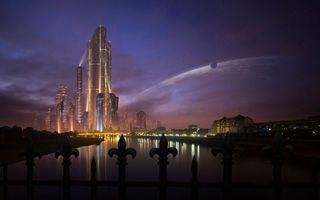 Бесплатные фото небоскреб,огни,забор,небо,планета,спутник