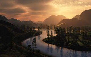 Фото бесплатно река и горы, деревья