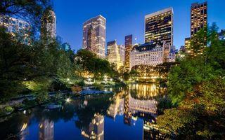 Бесплатные фото Центральный парк,Нью-Йорке,вечер,река,небоскребы,фанари