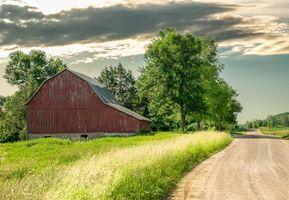 Фото бесплатно поле, дом, дорога