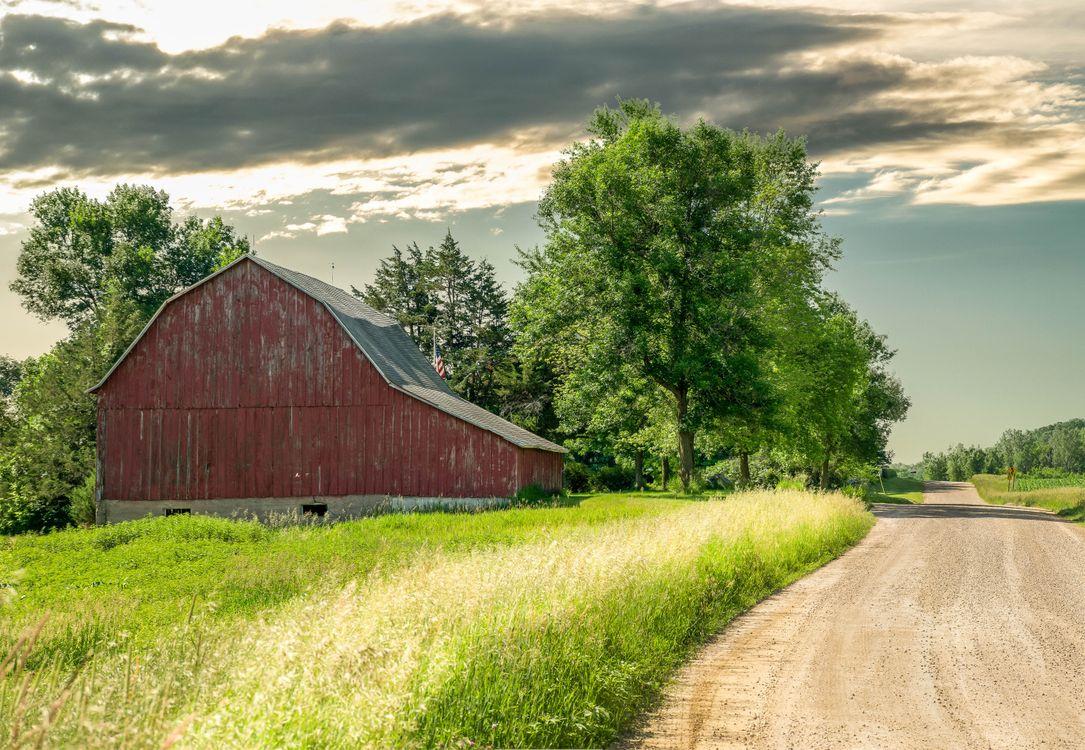 Фото бесплатно поле, дом, дорога - на рабочий стол