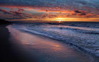 Фото бесплатно берег моря, волны, закат