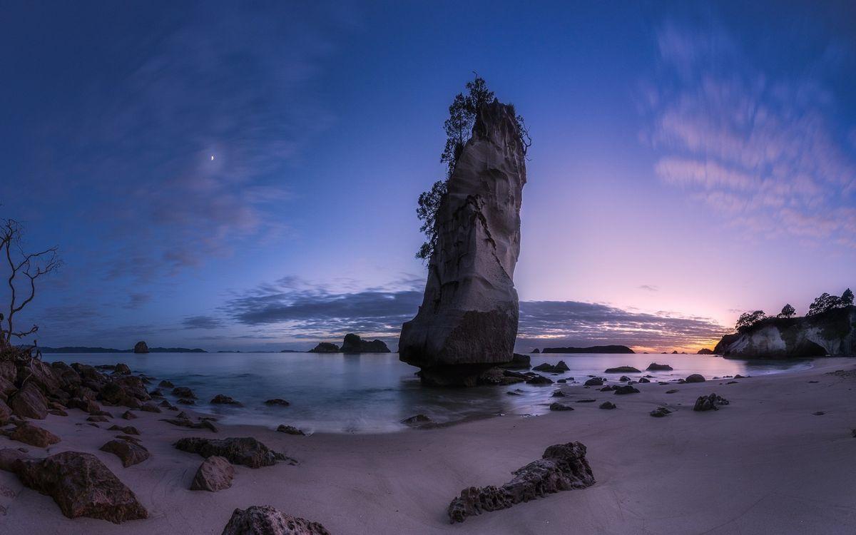 Фото бесплатно берег, песок, море, камни, валун, растительность, небо, луна, природа