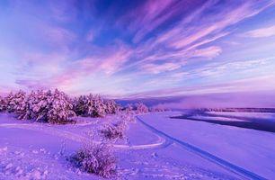 Заставки закат, зима, снег