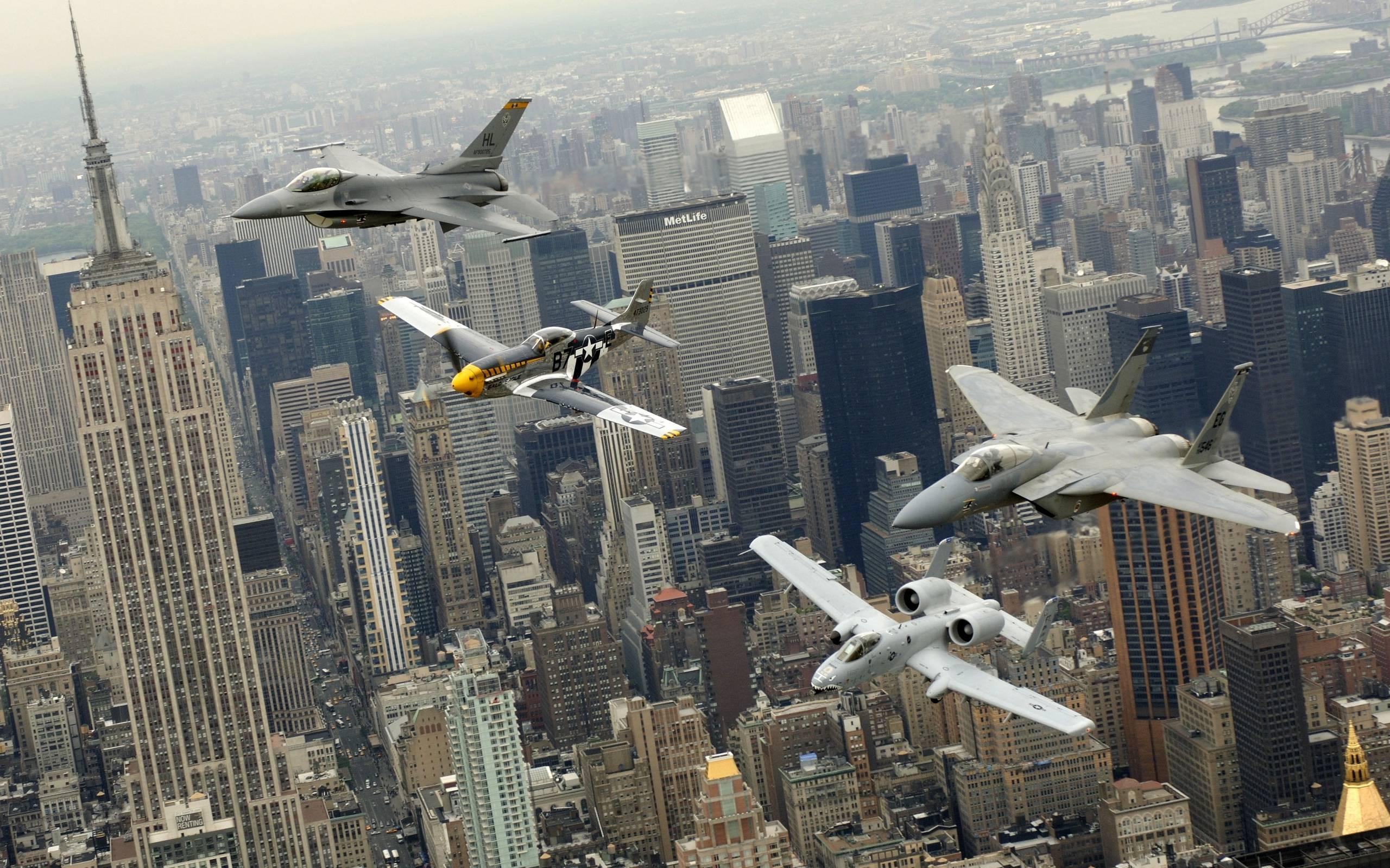 обои истребители, беспилотник, город, США картинки фото