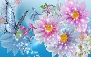 Фото бесплатно цветы, бабочка, флора, art