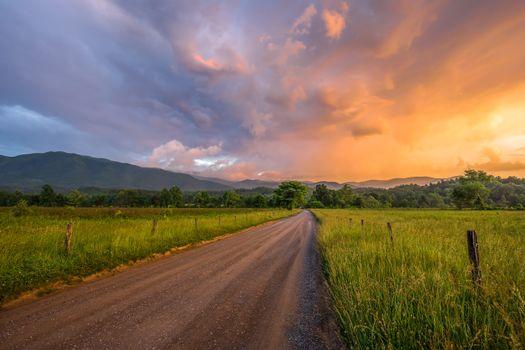 Заставки Грейт-Смоки-Национальный парк, дорога, пейзаж