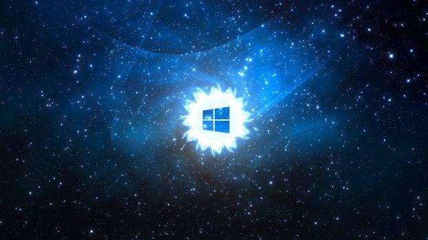 Фото бесплатно значок виндовс, логотип, небо, звезды, свечение