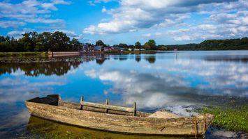 Фото бесплатно лодка, река, берег, дома